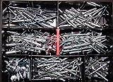 Blindnieten-Sortiment Ø 5mm verschiedene Längen 210 Teile Alu/ Stahl Din 7337 Popnieten