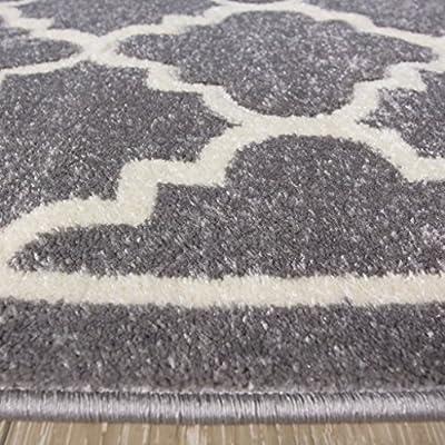 Light Grey Silver Geometric Trellis Fish Net Design Living Room Floor Rug - inexpensive UK light shop.