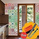 Walplus Abnehmbare Selbstklebend Wandbild Kunst Aufkleber Home Dekoration Wohnzimmer Schlafzimmer Küche Tapete Marokkanische Rot & Grün Mosaik Wandaufkleber 48stk 15cm X 15cm