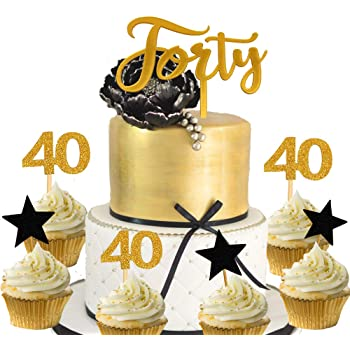 Phenomenal Cotton Candy Parties Number 40 Gold Glitter Cake Topper 40Th Funny Birthday Cards Online Aeocydamsfinfo