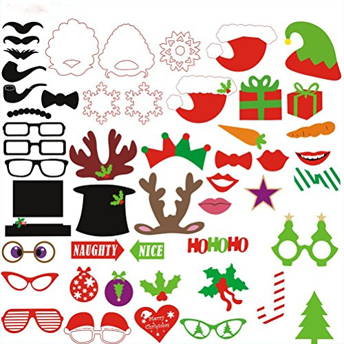 LEORX Natale Photo Booth puntelli 50pcs Photobooth puntelli per feste con renna cappelli fiocco regalo (Natale Puntelli Photo)