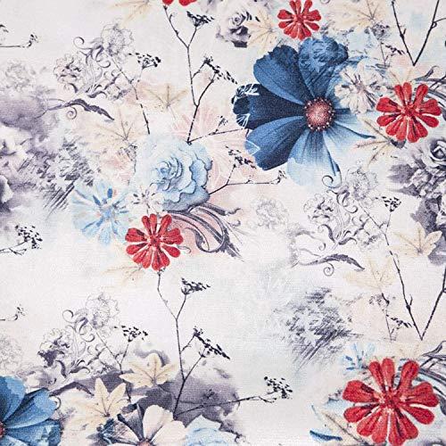 NOVELY® Passau Pablo - samtig Flauschiger Chenille Möbelstoff mit Blumen-Muster in 3 Varianten (01 Hellgrau Rot Blau) -