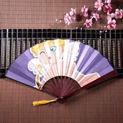WYYWCY Hand Fan Wall Decor niedlichen Amor mit Pfeil und Bogen mit Bambusrahmen Quaste Anhänger und Stoffbeutel chinesische Kinder Fan japanische Hand Fan tragbare Hand Fan