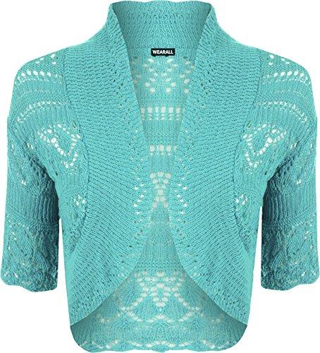WearAll - Boléro Cardigan Tricoté Crochet à Manches Courtes - Hauts - Femme - Grandes Tailles 42-48 Turquoise