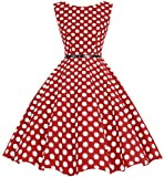 bbonlinedress 50s Retro Schwingen Vintage Rockabilly Kleid Faltenrock Red White Big Dot 2XL