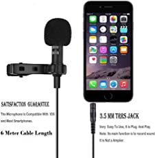 JR Professional Grade 6m Cable Length Multipurpose Lapel Mic for iPhone, Android Phone, Computers and Wireless Receivers