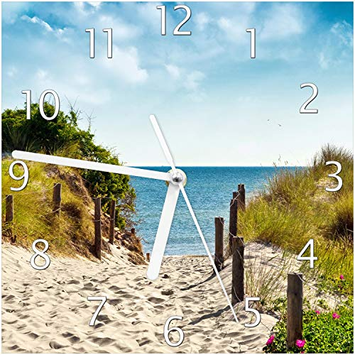 Wallario Glas-Uhr Echtglas Wanduhr Motivuhr; in Premium-Qualität; Größe: 20x20cm; Motiv: Auf dem Sandweg zum Strand