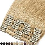 Extension a Clip Cheveux Naturel #27 Blond foncé - Volume Moyen 8 Pcs - 100% Human Hair Extensions Clip in Remy 40cm-90g