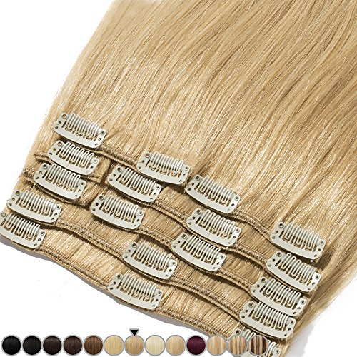 Extension capelli veri clip 8 fasce remy human hair full head xl set lisci lunga 8 pollici 20cm pesa 65grammi, #27 biondo scuro