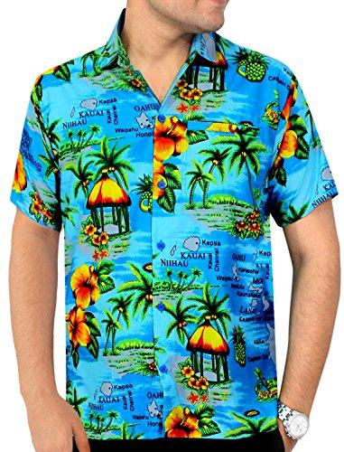 LA-LEELA-Shirt-camisa-hawaiana-Hombre-XS-5XL-Manga-corta-Delante-de-bolsillo-Impresin-hawaiana-casual-Regular-Fit-Camisa-de-Hawaii-Azul-Del-Trullo-1215-L