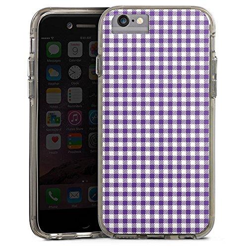 Apple iPhone 7 Plus Bumper Hülle Bumper Case Glitzer Hülle Karo Lila Pattern Bumper Case transparent grau