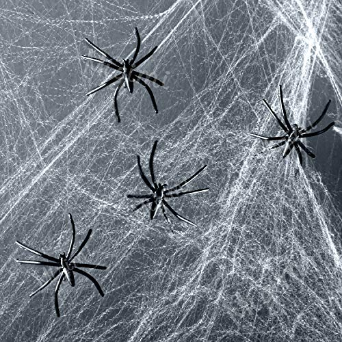Migimi decorazioni halloween ragnatela bianca con 4 ragni di plastica nera