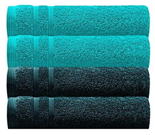 Lashuma Frotteehandtuch 4er Set Grün, Handtuch Farbe: 2X Opal und 2X Nautic, Strapazierfähige Gästetücher 30 x 50 cm