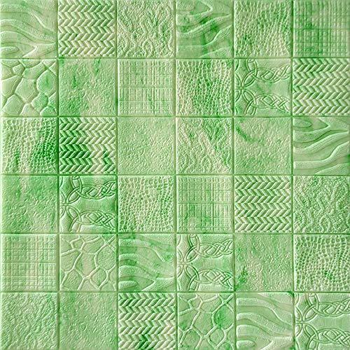 YANGMAN 3D Wandpaneele Aufkleber Green Emerald European Minimalist Schachbrettmuster, Selbstklebende Schaumtapete für Sofa TV Hintergrund Home Decoration, 70x70 cm,30pack158.1sq.ft
