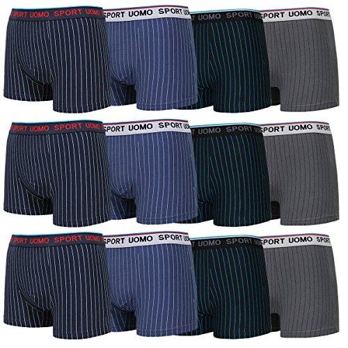 4-6-9er Pack Boxershorts Herren Boxer Short Gestreift Unterhose Unterwäsche M L XL XXL XXXL Sport (XXL, 9er)