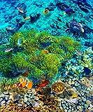 Weaeo 3D-Stock Wandmalereien Individuelle Fototapete Tropical Gericht Pvc-Boden Im Badezimmer Tapeten Wasserfest Selbstklebend 3D-Bodenbeläge-120 X 100 Cm