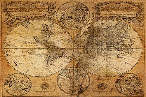 ALTE WELTKARTE Worldmap Bild Bilder Leinwand Poster Wandbild Antike Alte Welt
