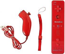 Wii Remote + Nunchuk Controller mit Motion Plus für Nintendo Wii / Wii U, Rot