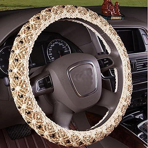 B & Y main perles Glace Automotive Housse de volant en SOIE avec 38cm/38,1cm Diamètre Beige Beige