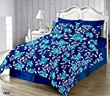 #7: The Intellect Bazaar Cotton Fitted Elastic Bedsheet,Blue