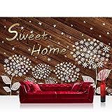 Fototapete 368x254 cm PREMIUM Wand Foto Tapete Wand Bild Papiertapete - Holz Tapete Pusteblume Illustration braun - no. 3149