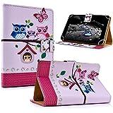 """art&cherry 8"""" Tablet / Tablet-PC 8Zoll Hülle Case - Fintie Ultradünne Smart Shell Cover Lightweight Schutzhülle Tasche Etui Eulenhaus"""