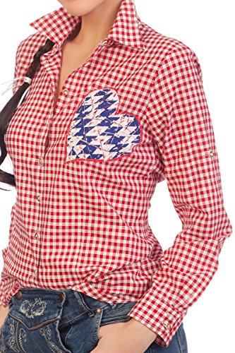 Trachten Bluse, langer Arm - TRACHTENHERZ- rot, beere Rot