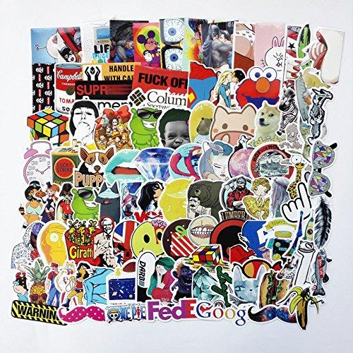 Preisvergleich Produktbild Lanseed (100 Stk Aufkleber Vinyl Stickers Graffiti Decals Stickerbomb für Auto,  Skateboard,  Koffer,  Motorrder,  Fahrrder,  Boote,  Laptop,  Snowboard Gepäck und Glatte Oberfläche, Serie C
