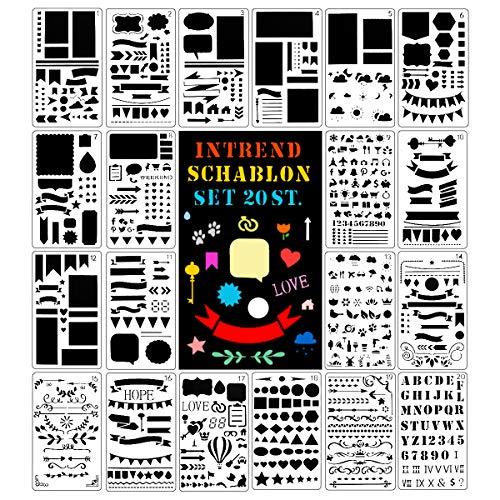 int!rend 20 Schablonen Set, aus Kunststoff, Zeichenschablonen Muster für Bullet Journal, Scrapbooking, Fotoalbum, Gästebuch, DIY Geschenkkarten