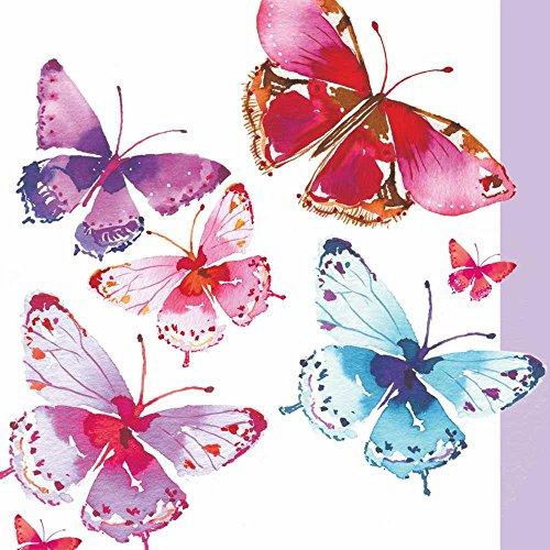 Paperproducts Design Design 1251924Hohe Qualität Getränk/Cocktail Aquarelle Schmetterling Papier Servietten (20Stück), multicolor