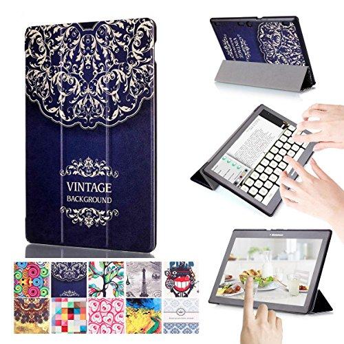 Preisvergleich Produktbild Lenovo Tab 2 A10 Hülle,  [Mehrfachwinkelstand] [Automatischer Aufwachen / Schlaf ] 3-Faltende Ultra-dünner PU-lederner und Stoßdämpfer Schützender Folio Fall Hülle für Lenovo Tab3 10 Business / TB3-X70F / Tab 2 X30F / Tab 2 A10-70 / Tab 2 A10-30 Tablet