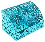 Generic geschnitzt Hohl Blume Muster Schreibtisch Supplies Organizer Caddy 5Fächer und 1Slide Schublade Desktop Collection Caddy blau
