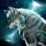 DIY 5D Diamond Painting, Crystal Rhinestone Diamond Embroidery Paintings Pictures Arts Craft for Home Wall Decor Gray Wolf 11.8 X 11.8 Inch