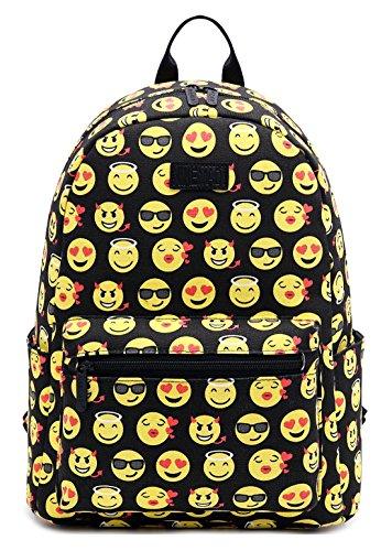Tibes Leinwand Schöner Emoji Rucksack für Schüler der Sekundarstufe Gelb