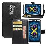 Taslar(TM) Leather Wallet Magnetic Clip Stand Flip Back Cover Case for Honor 6X - Black Color
