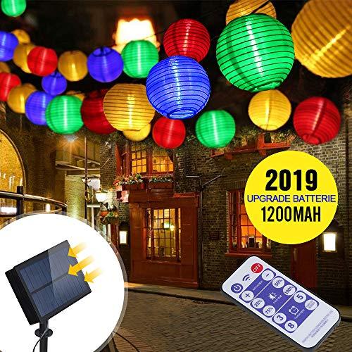 ußen Lampions | infinitoo 6m 30er LED Solar Lichterkette Aussen | 5.5V Upgrade hohe Leistung Farbig Lichterkette Lampions Die Fernbedienung 2m Anschlusskabel ()