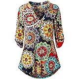 YANG YI Clearance Offer Women's Casual Stylish Floral Print V Neck Long Sleeves Tops T-Shirts & Shirts Button Layered Blouses - B07KJN1KFJ
