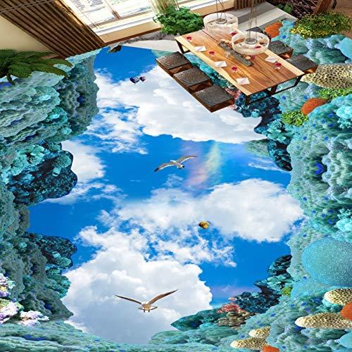 Ozean Blauer Himmel Weiße Wolken Vogel 3D Boden Tapete Schlafzimmer Küche Rutschfeste Boden Wandbild
