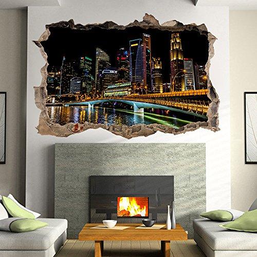 (Singapore Skyline Night Fenster Poster 3D Art Wandaufkleber Vinyl Mural by Inspired Walls®)