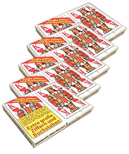 HAC24 5X Skatkarten mit je 2X 32 Kartendeck extra große Ziffern | Senioren Skatspiel Karten