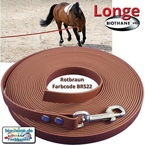 Longe Longierleine für Pferde 16mm aus Beta BioThane®, Pferdelonge für Reitsport, 6 Meter lang in Rotbraun