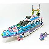 Mattoncini da costruzione, modello Heartlake, barca con motore ad acqua, 40 cm