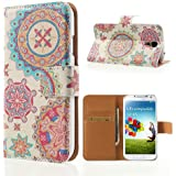 delightable24 Schutzhülle Case Bookstyle SAMSUNG GALAXY S4 Smartphone - Circle Flowers Edition