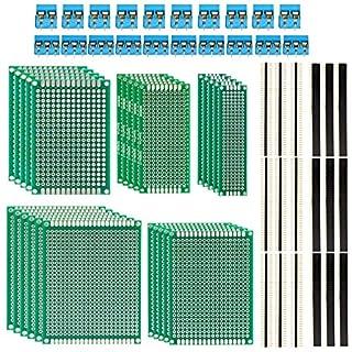 LUWANZ 85tlg LochrasterpLUWANZ 85tlg Lochrasterplatte Leiterplatte Set inkl. 25 x Lochrasterplatine+ 20 x 40 Pin Stecker + 20 x 2,54 mm Buchsenleiste (40Pin) + 20 x Leiterplatten Anschlussklemme