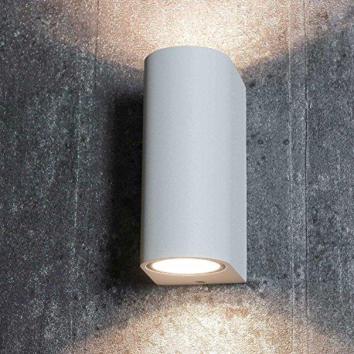 Up & Down Aussenleuchte für die Hauswand in weiß 2x GU10 Fassung bis 35 Watt IP44 Wandleuchte Wandlampe für Hof und Garten -