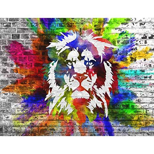 Fototapete Bunter Löwe Vlies Wand Tapete Wohnzimmer Schlafzimmer Büro Flur Dekoration Wandbilder XXL Moderne Wanddeko - 100{5269db56b84379123d51cfc5258fab614865f23d5788e44872aff6364a6d9221} MADE IN GERMANY - Streetart Graffiti Runa Tapeten 9164010c