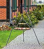 Korono Schwenkgrill stabiles Teleskopgestell 180 cm & 2 Roste 80 cm / 40 cm Pulverbeschichteter Stahl- Gartengrill für alle Feste und Familienfeiern