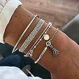 Branets - Set di braccialetti con nappe, con paillettes, accessori per perline e catenine regolabili per donne e ragazze (4 p