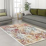 carpet city Designer Modern Hochwertig Teppich Classic Ornament Bunt Creme Rot Orange Türkis Öko Tex 120x170 cm