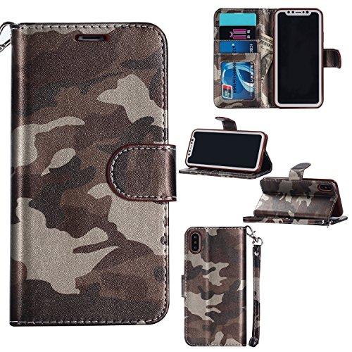 (Jusheng Großhandels-PU-Leder-Schlag-Kastenabdeckung Armee-Tarnungs-Kreditkarte-Geldbörse für iPhone x 10 (Color : Brown, Size : Ipx))